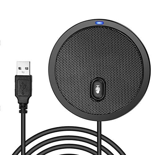Micrófono USB de Conferencia para Ordenador, Micrófonos de PC de condensador omnidireccional de 360° con Silencio, Plug & Play Compatible con Mac OS X Windows para videoreuniones, juegos, chat, Skype, llamadas VoIP