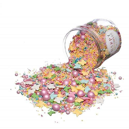Happy Sprinkles Streusel Pastell Summer Dekoration – Bunte Schmetterlinge und Zuckerperlen + Rosa Schokoperlen - Streudekor für Kuchen, Torten, Kekse, Cake Pops, Cupcakes, Muffins 90 g