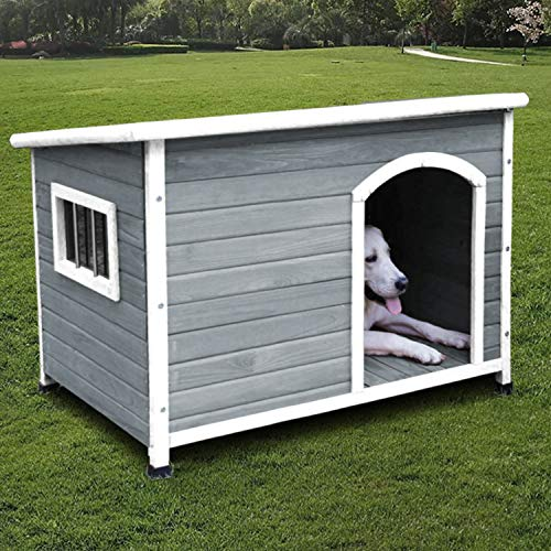 ROCKEVER Dog Houses for Small Dogs and Puppies Outdoor Wood Weatherproof Outside Wooden Puppy Houses Insulated Light Grey