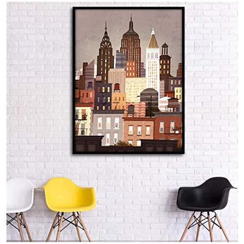 Stockholm kuststad, norra Sverige retro dekorativ målning kanvasmålning väggkonsttryck på duk utan ram – 60 × 80 cm