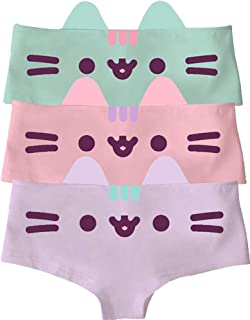 Pusheen Face Hipster Panties with Cute 3D Cat Ears Briefs Underwear (3-Pack)