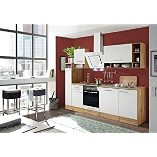 respekta Kitchen Unit Kitchenette Kitchen Block Fitted Kitchen 250 CM Wild Oak White:Kisaran