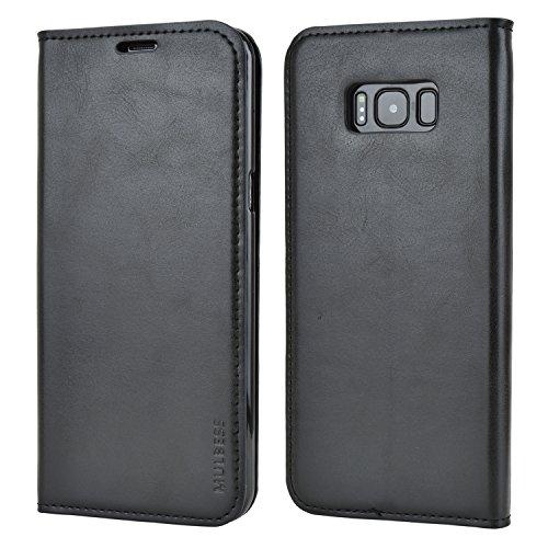 Mulbess Handyhülle für Samsung Galaxy S8 Plus Hülle Leder, Samsung Galaxy S8 Plus Handy Hüllen, Slim Flip Handytasche Schutzhülle für Samsung Galaxy S8 Plus / S8+ Hülle, Schwarz