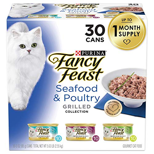 Purina Fancy Feast Grilled Gravy Wet Cat Food Variety Pack, Seafood & Poultry Grilled Collection - (30) 3 oz. Cans