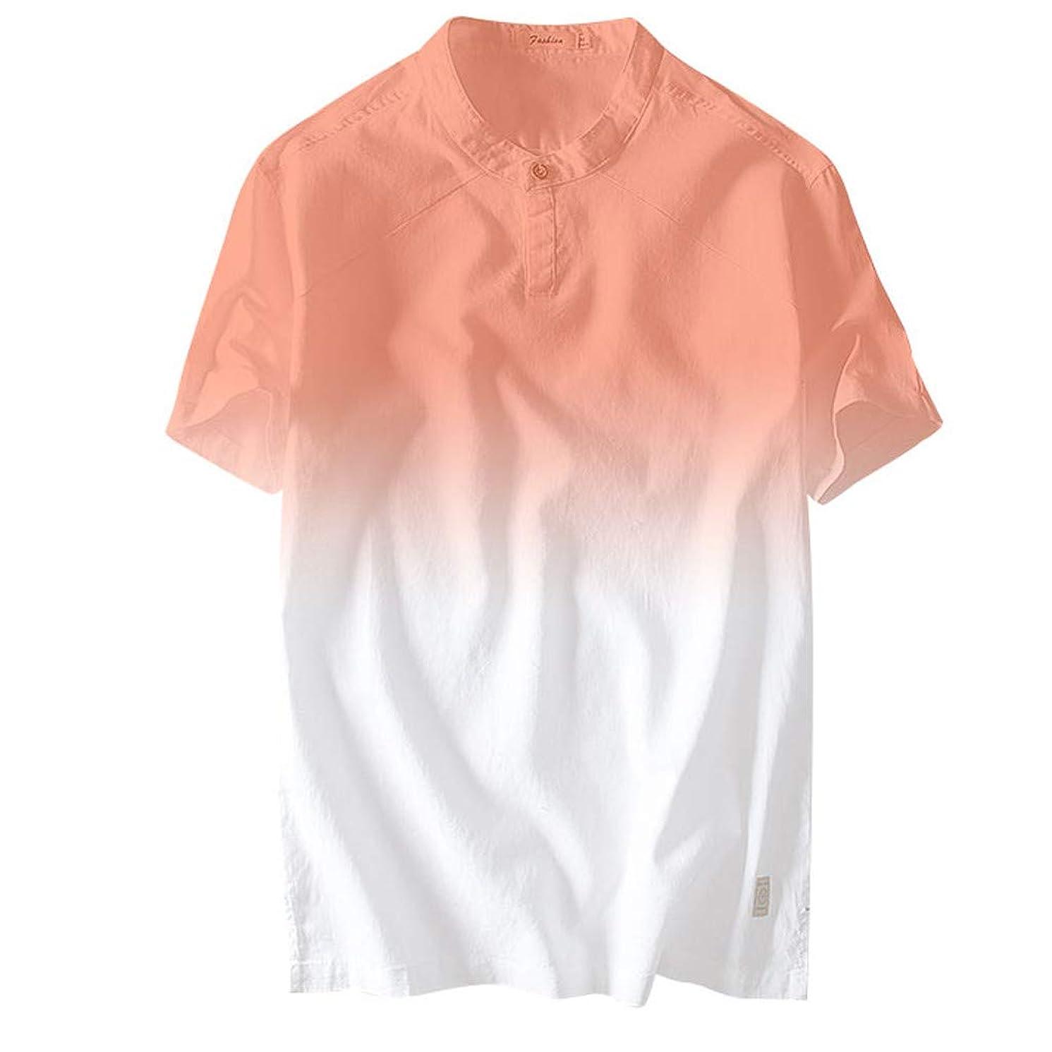 2019 New JJLIKER Mens Gradient Henley Shirt Casual Slim Fit Short Sleeve T-Shirt Cotton Linen Shirts Summer Fashion Tops