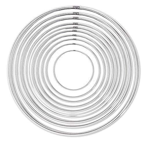 BOELLRUNO 20Stück Ringe für Traumfänger Metallringe Drahtring Metall Hoops zum Basteln Metall Ringe Hoops 20/18/16/14/12/10/8/6/4/3.5cm Traumfänger Selber Basteln Bastelset Mobile Ring DIY Handwerk