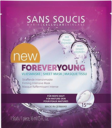Sans Soucis Foreveryoung Vliesmasker met anti-aging power-peptiden en plantenstamcellen, vermindert lijntjes en rimpels, veganistisch