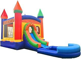 Inflatable Bounce House and Wet / Dry Slide - 12` Foot x 12` Foot Bouncy Area - Crossover Rainbow Castle Combo with Wet Po...