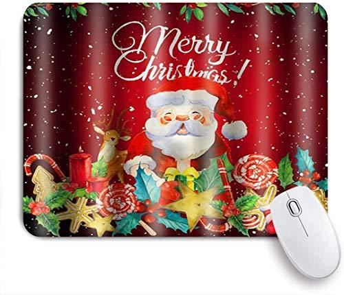 Dekoratives Gaming-Mauspad,Weihnachtsbonbon Elch Weihnachtsmann,Bürocomputer-Mausmatte mit rutschfester Gummibasis