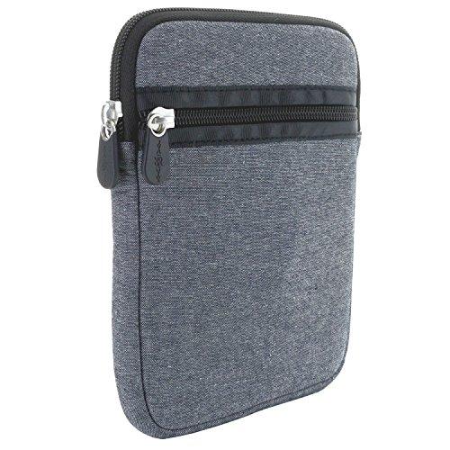 XiRRiX eBook Reader Tasche aus Neopren mit Reißverschluss - Größe 6 Zoll (15,24cm) für Tolino eReader Modelle - Hülle grau