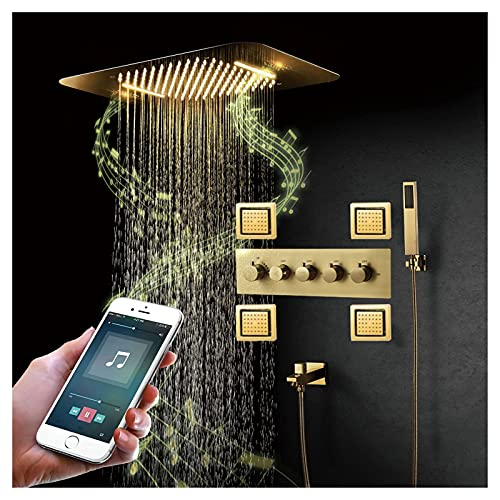 Dpliu Music Shower System Thermostatic Brushed Gold Shower Faucet Set 64 Colors LED Shower Combo Set with Rainfall Shower Head, Handheld Sprayer, Tub Spout and Body Jets (Color : Touchpad)