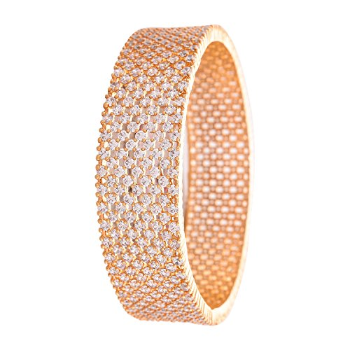 Ratnavali Jewels CZ Zirkonia Gold polnischer weißer Diamant Bollywood indische Armreifen Kada Schmuck