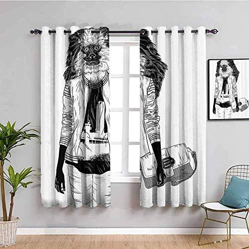 LTHCELE Opacas Cortinas Dormitorio - Abstracto Personaje máscara Mochila - Impresión 3D Aislantes de Frío y Calor 90% Opacas Cortinas - 280 x 245 cm - Salon Cocina Habitacion Niño Moderna Decorativa