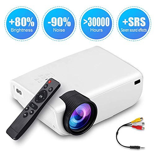 """Video Projector - Portable Mini Projector, 176"""" Display, 1080P Supported 50,000 Hrs Home Movie Projector, Compatible with HDMI VGA AV USB"""