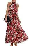 Spec4Y Vestido de verano para mujer, estilo bohemio, estampado floral, sin mangas, largo, elegante, para playa, espalda descubierta, con cinturón Rojo 270 46