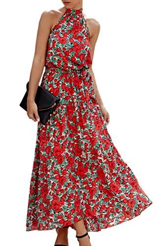 ECOWISH Women Dress Halter Neck Boho Floral Print Sleeveless Casual Backless Maxi Dresses with Belt 270 Red Small