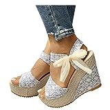 KHIIen Sandals for Women Wedge, Espadrilles Peep Toe Platform Sandals Summer Ankle Strap Lace Bow High Heels Comfort Beach Roman Travel Shoes