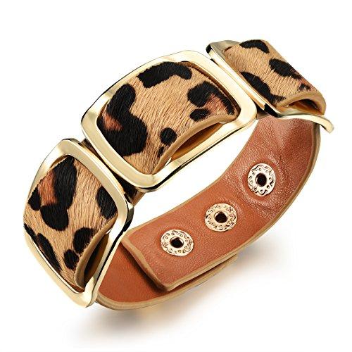 iLove EU Breit Legierung Echtleder Armband Armreif Manschette Leopard Gold Druckknopf Verstellbar Punk Rock Damen