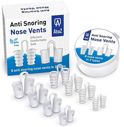AtoZ New Snore Stopper Nose Vents - Anti Snoring Devices Set of 8 - Snoring solution nasal dilators - Stop Snoring Nasal Dilator - Anti snore nasal strips