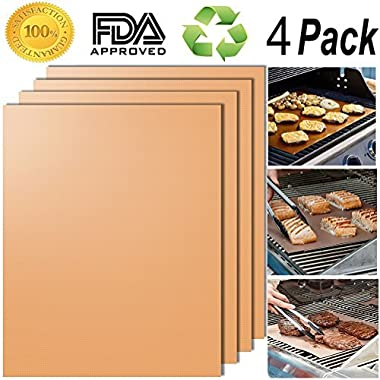 SMAID Copper Grill Mat Set of 4 - Non-Stick BBQ Grill Mats - FDA-Approved, Reusable and Easy To Clean - Works on Gas, Charcoal, Electric Grill and More - 15.75 x 13 Inch