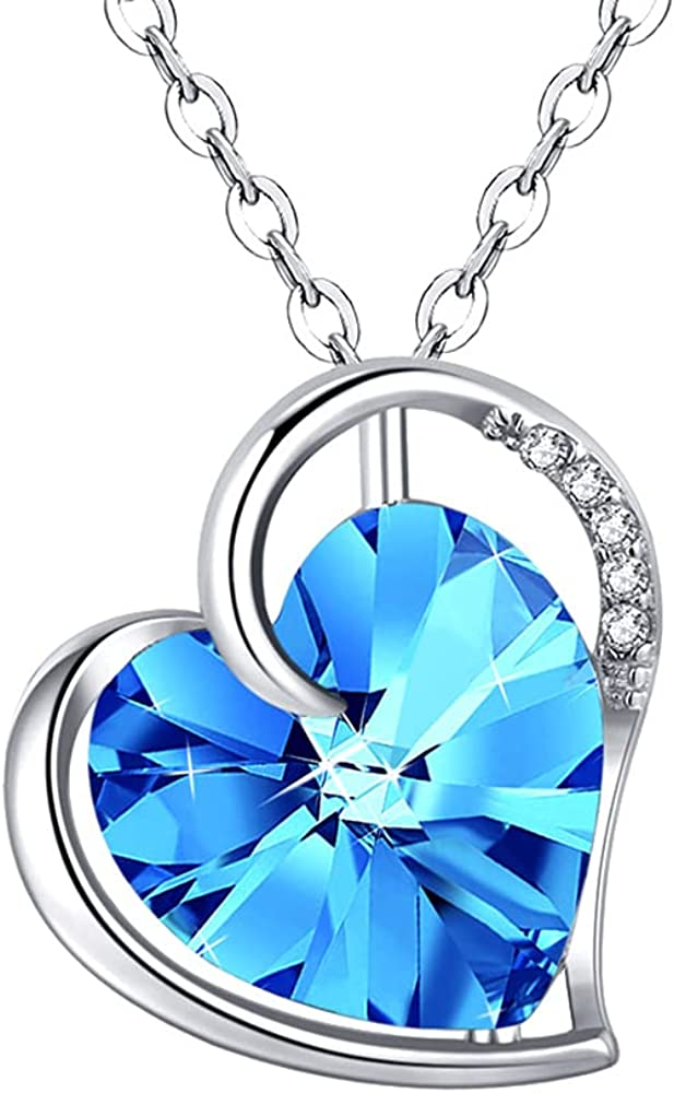 Blue Heart Necklaces for Save money Mom Soldering Silver Necklac Crystal Sterling 925