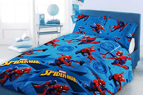 Marvel Comics Spiderman Double Duvet Cover Set Reversible Bedding with Pillowcases