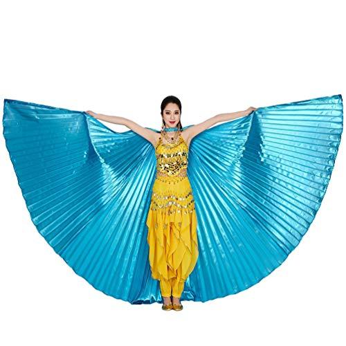 Tookang Dance Fairy Bauchtänzerin Isis Flügel Keine Sticks Tanzkostüm-Zubehör Bauch Tanz Darstellende Künste Halloween Fasching 2# Lake Blue (ohne Stick)