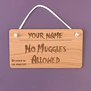Wood Plaque No Muggles Allowed Personalised Wall Hanging Sign Home Decoration Fun Sign