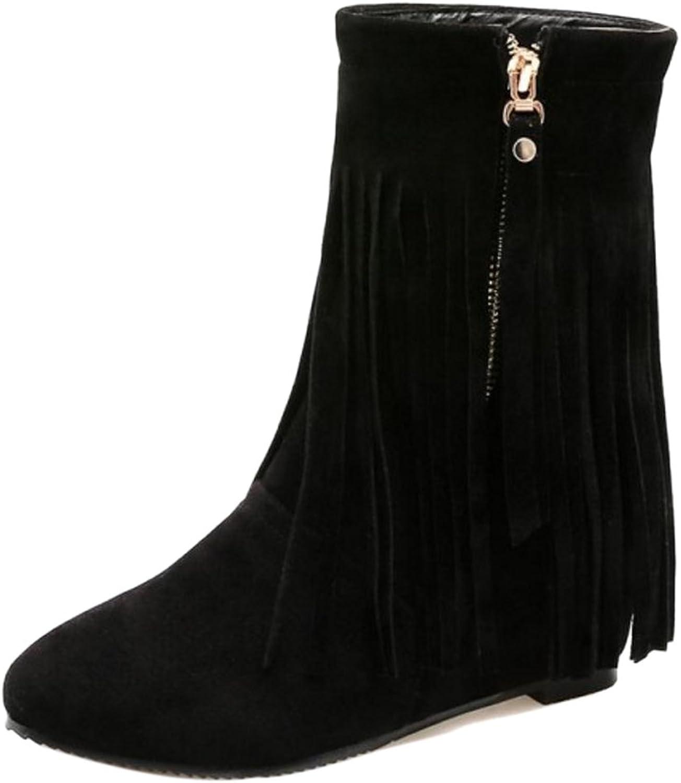 KemeKiss Women Classic Zipper Boots Hidden Heel