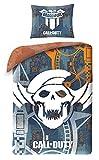 Call of Duty Black Ops COD-5530BL - Juego de ropa de cama (140 x 200 cm, funda de almohada, ropa de cama infantil + mochila, 100% algodón, certificado Oeko-Tex), color gris