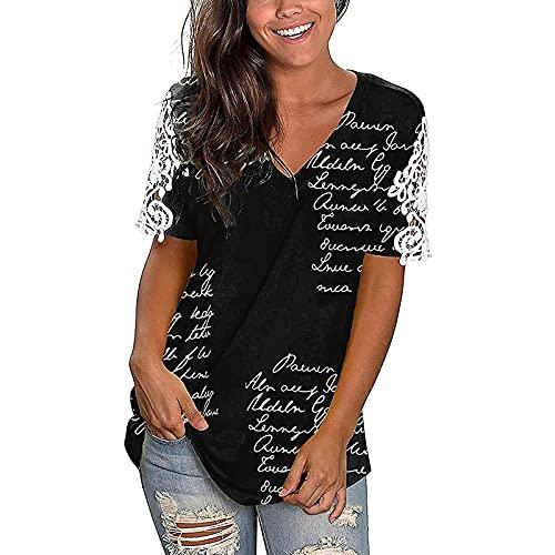 Camiseta de manga corta para mujer, de verano, extragrande, básica, cuello en V, holgada, túnica, multicolor, diseño grande B-negro. XXL