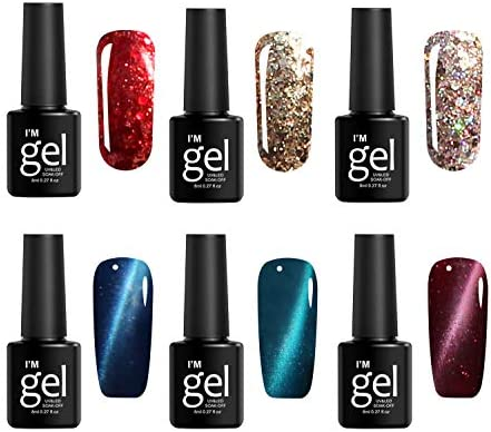 Gel Nail Polish Set 6 Colors Diamond Shiny Style Nail Gel Set Cat Eye Style Nail Polish kit product image