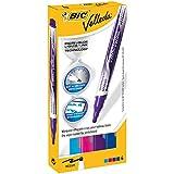 BIC Velleda Pocket rotuladores Punta Ancha - colores Surtidos (Azul/Azul Claro/Rojo/Morado), Caja de 4 unidades