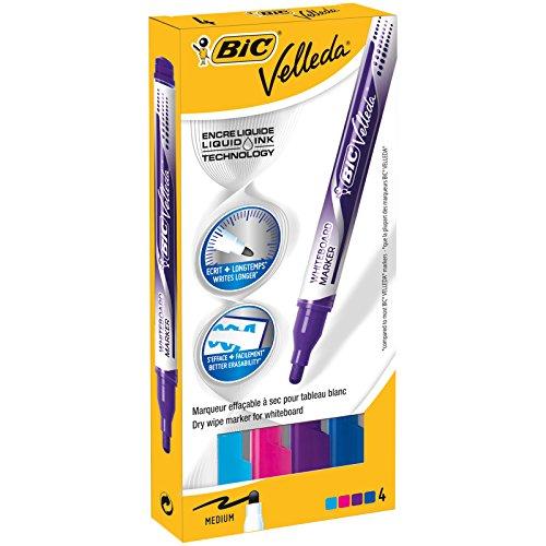 BIC Velleda Feutres pour Tableau Blanc Effaçables à Sec Pointe Conique Large - Couleurs Assorties, Etui Carton de 4