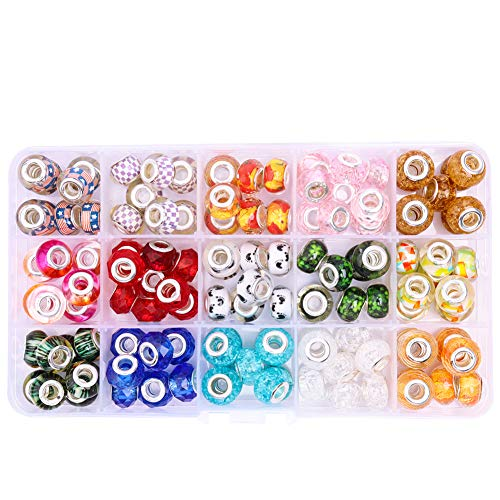 120pcs European Beads for Jewelry Making 5mm Hole Mixed Color Large Hole Beads Murano Beads with Silver Snake Chain for European Charm Beads Bracelet Necklace Jewelry Making
