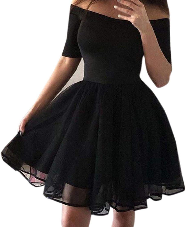 Xinantime Women's Waist Puff Princess Dress Off Shoulder Solid color Mini Skirt Party Dress