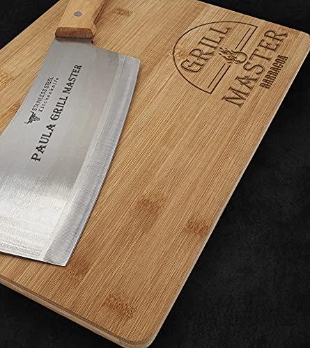 Hachuela de cocina con Tabla de bambú PERSONALIZADO,...