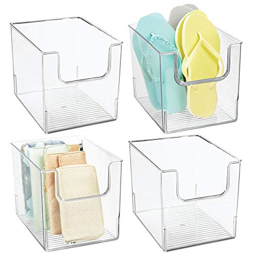 mDesign Plastic Open Front Closet Home Storage Bin Container, Cube Organizer Tote - for Closet, Bedroom, Furniture Shelving Units - Holds Men's, Women's Clothing, Accessories - 8' Wide, 4 Pack - Clea