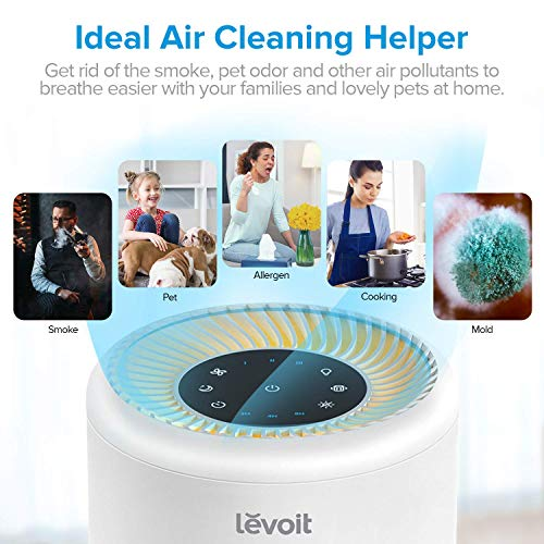 LEVOIT Air Purifier for Home Allergies and Pets Hair, Smokers, True HEPA Filter, Quiet Filtration System in Bedroom, Removes Smoke Odor Dust Mold, Night Light & Timer, Vista 200