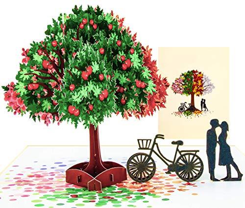 LIMAH® Pop Up 3D Grußkarte/Hochzeit-Karte, Geburtstag-Karte, Dankeskarte, Valentinstag-Karte, Geschenkkarte/Baum, Fahrrad, Liebespaar, Motiv/in Beige/Groß