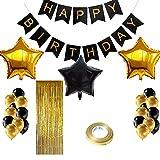 Globos Cumpleaños Oro Negro, Pancarta Feliz Cumpleaños, Decoraciones de Fiesta de Cumpleaños de Oro Negro, Cortina de Flecos, Globos de Papel, Material Seguro para Adultos Decoración