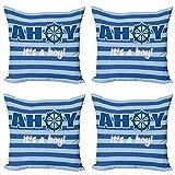 ABAKUHAUS Ahoy Su un Muchacho Set de 4 Fundas para Cojín, Nuevo Nacimiento del bebé, Estampado Digital en Ambos Lados y Cremallera, 50 cm x 50 cm, Azul pálido Azul Blanco
