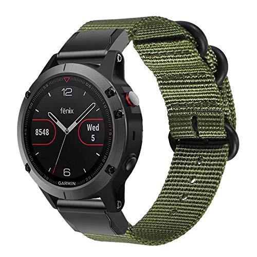 Miimall - Cinturino in nylon per Garmin Fenix 6 / Fenix 6 Pro/Fenix 5 / Fenix 5 Plus / Forerunner 935 945 / Garmin Instinct, 22 mm Quick-Fit, colore: Verde militare