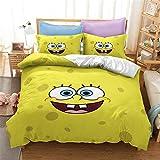 HMT NF 3D Anime Spongebob Bedding Set Soft Breathable Cartoon Duvet Cover Set for Boys Girls 1 Duvet Cover 2 Pillowcases Queen Size