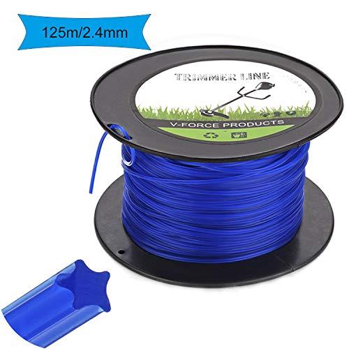 Trimmerfaden 2,4mm/125m 5-kant Ersatz-Trimmerleine für Weed Grass Yard oder Garden Blau Star Rasen Mähfaden Ersatzfaden Rasentrimmer Nylonfaden Motorsense Trimmerschnur Durchmesser