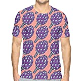 LESKETH 3D Printed T Shirts,Violet Roman Artichokes on Coral Backdrop Organic Cooking Theme Grocery