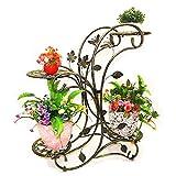 TEAYASON Soporte de Flores Multicapa de Arte de Hierro Balcón Sala de Estar Estante para Etas Estante Personalidad