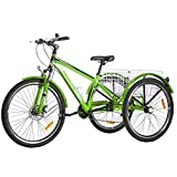 VANELL Adult Mountain Tricycle 7 Speed Three Wheel Cruiser Trike Bike with Front Suspension Fork Front Disc Brake MTB Tire Bicycle (Grass-Green, 26'/ 7speed)