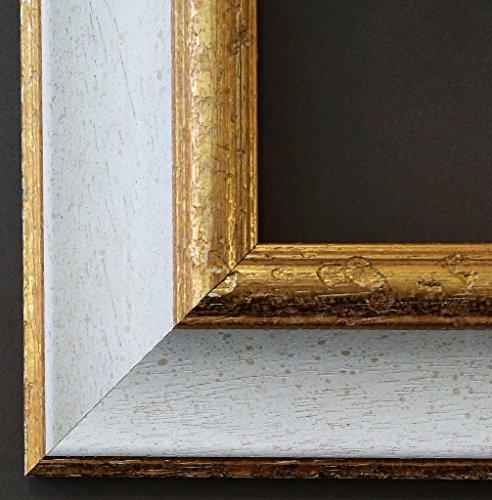 Bilderrahmen Acta Weiss Gold 6,7 - Über 100 Größen - 4 Ausstattungsvarianten - Wechselrahmen mit Museumsglas (UV-Schutz 45% - entspiegelt) - DIN A4 (21,0 x 29,7 cm) - Antik, Barock