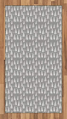 ABAKUHAUS Kerstboom Tapijt, sneeuwvlokken Achtergrond, vlak Geweven Vloerkleed voor Woonkamer, Slaapkamer, Eetkamer, 80 x 150 cm, Pale Taupe en Vermilion